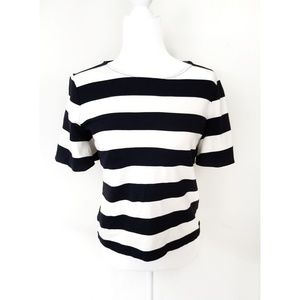 Ann Taylor Bold Black and White Striped Top